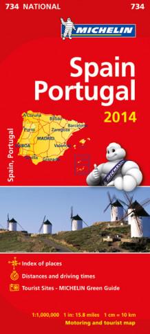 Spania Og Portugal 2014 Mi 734 Av Michelin Kart Falset